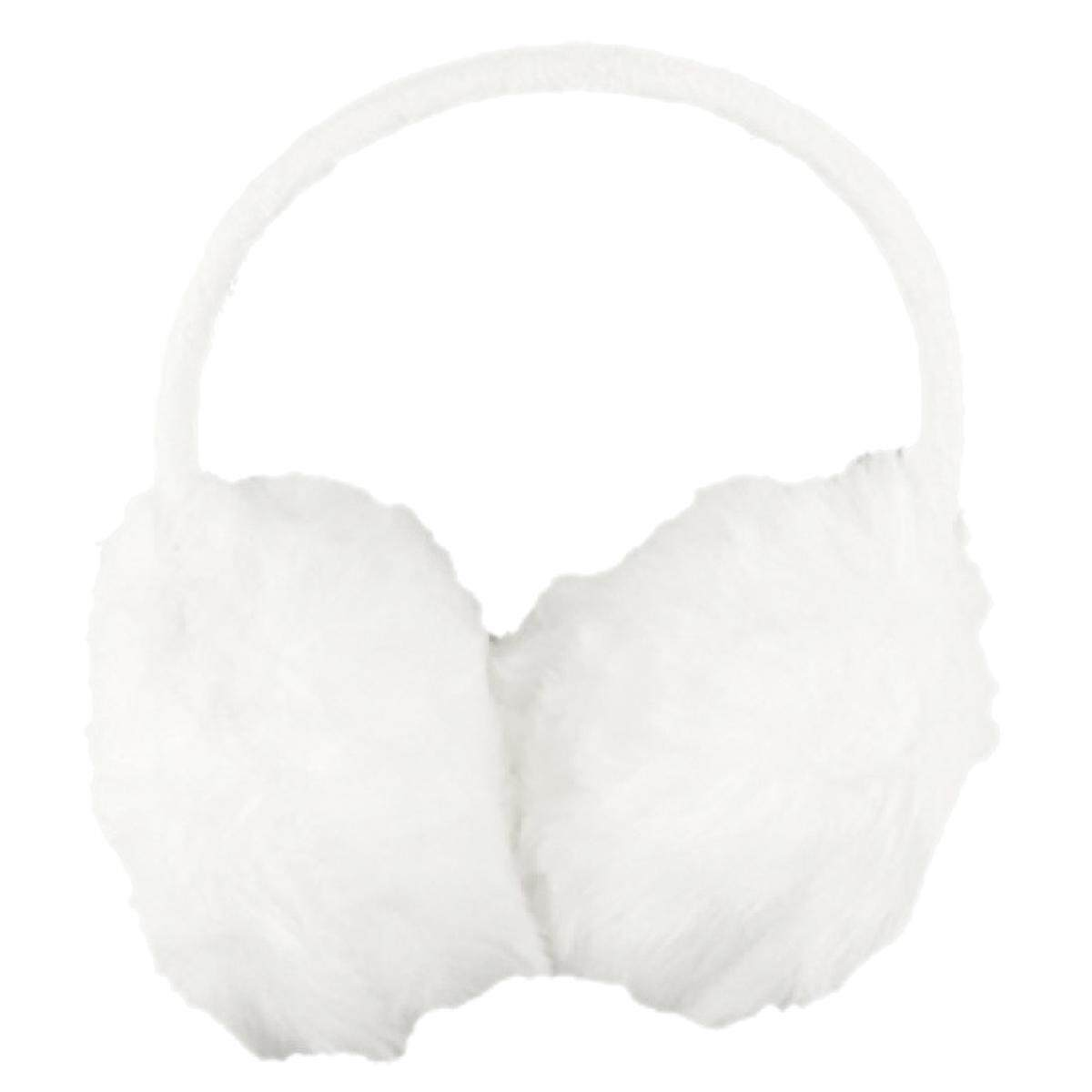 Wanita Bingkai Plastik Putih Fluffy Telinga Warmers Earmuffs (Internasional)-Internasional