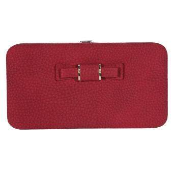 Lady Wallet Long Card Holder Phone Coin Purse Handbag(Burgundy)