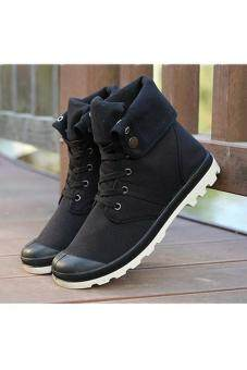 LALANG Men Canvas PU Boots High Cut Tube Down Sneaker Shoes Black