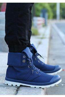 LALANG Men Canvas PU Boots High Cut Tube Down Sneaker Shoes Blue -