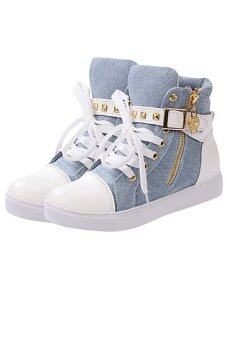 LALANG Women High Cut Sneakers Canvas Shoes Blue