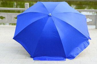 Large beach umbrella outdoor umbrellas (2.4 m silver three blue(double layer fabric))