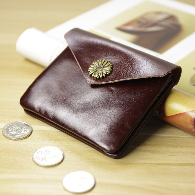 Leather mini small purse the female short style of leather take to button up to drive certificate money to clip a student to revive old customs a male small change to wrap coin to wrap - intl