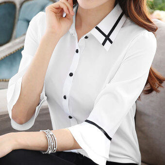 Length sleeves Slim fit sleeve short-sleeved white shirt (White)