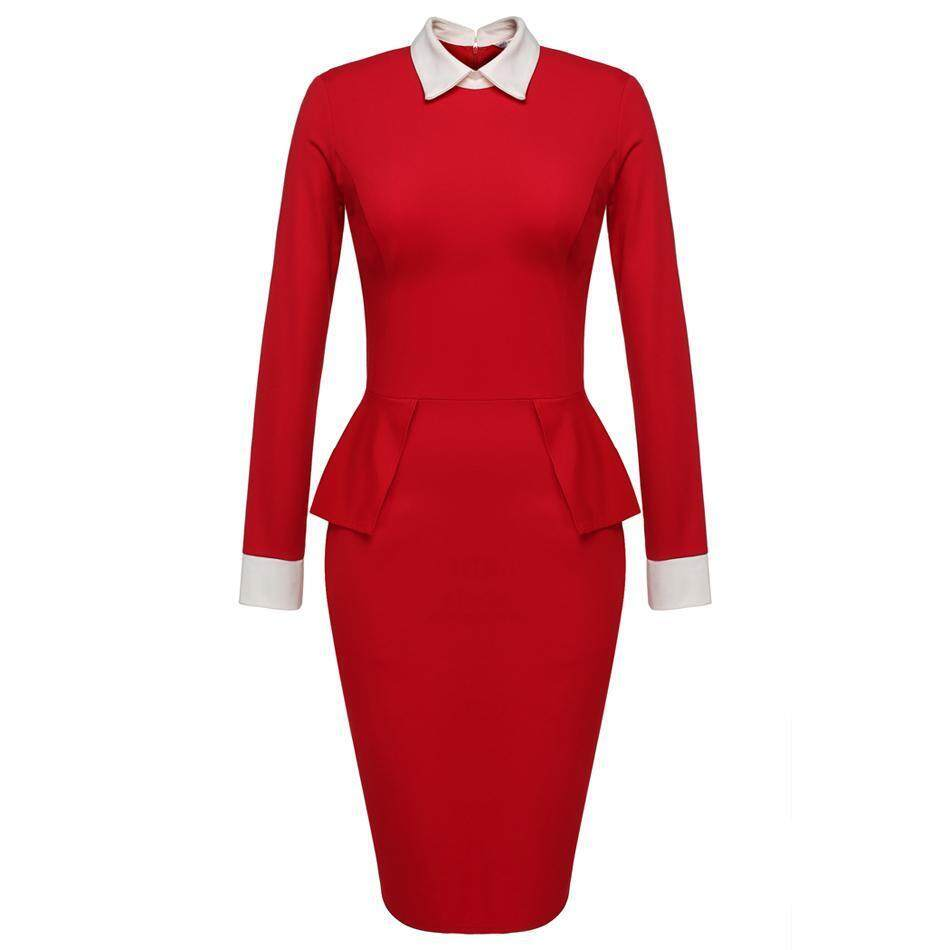 Linemart Meaneor OL Style Women Lady Long Sleeve Doll Collar High Waist Peplum Sexy Bodycon Solid Formal Dress ( Red ) - intl