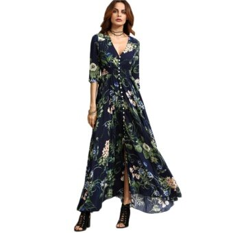 Long Floral Maxi Dress Boho Long Dress Elegant Beach Navy Floral Print Half Sleeve Button Front A Line Shirt Dress