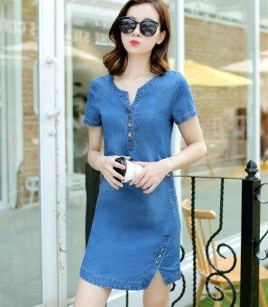 Long section Plus-sized student denim dress New style denim dress