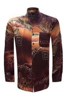 Long Sleeve Printed Batik Shirt - 22616-BK0004 (Brown)