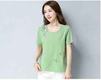 LOOESN artistic printed short sleeved t-shirt (Light Green)
