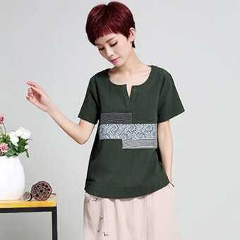 LOOESN cotton women's short sleeved New style middle-aged Top T-shirt (Dark Green)