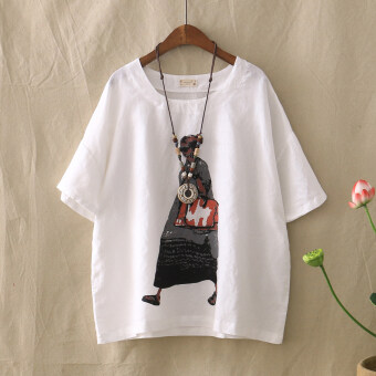 LOOESN Japanese-style cotton linen Plus-sized round neck short sleeved cotton linen Top T-shirt (White)