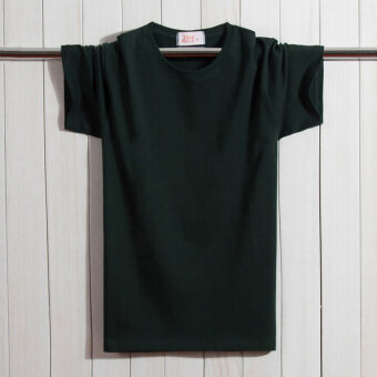 LOOESN old middle-aged men's short sleeved t-shirt (Dark green color)