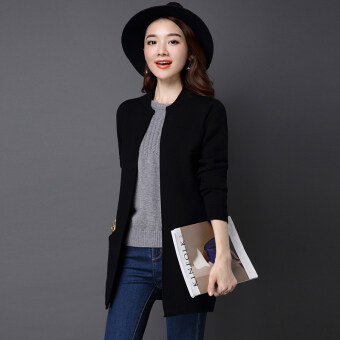 LOOESN solid mid-length slimming sweater cardigan (Black)