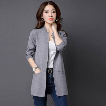 LOOESN solid mid-length slimming sweater cardigan (Gray)