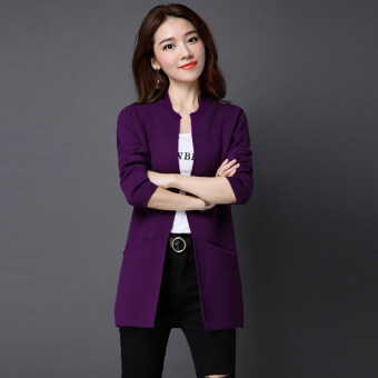 LOOESN solid mid-length slimming sweater cardigan (Purple)
