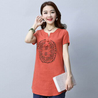 LOOESN sy2017 retro cotton linen solid color short sleeved Top T-shirt (Red)