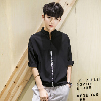 Loose casual half-sleeve shirt batwing shirt New style short sleeved t-shirt (Black)