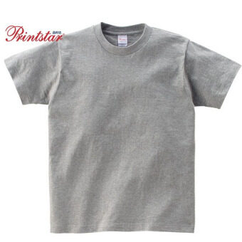Loose cotton solid color round neck short sleeved bottoming shirt T-shirt (Heather gray color) (Heather gray color)