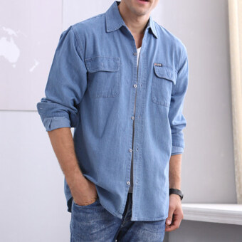 Loose cotton solid middle-aged men's overalls shirt (Light blue)