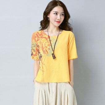 Loose elegant short sleeved Plus-sized round neck Top (Yellow) (Yellow)
