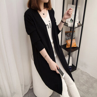 Loose female mid-length slimming knitted cardigan sweater (Black)