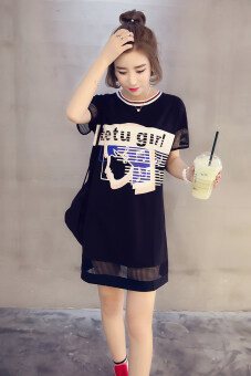 Loose Korean-style cotton porous short sleeved t-shirt shirt T-shirt dress (Black (short sleeve)) (Black (short sleeve))