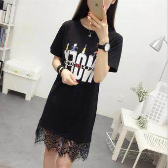 Loose Korean-style lettered printed mid-length Top dress T-shirt (Black) (Black)