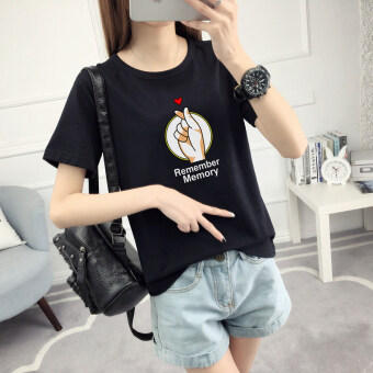 Loose Korean-style women's short sleeved student Short sleeve Top T-shirt (Black) (Black)