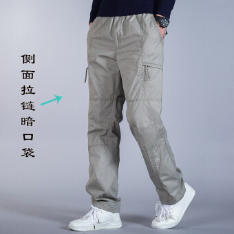 Loose men spring and extra-large tooling pants sports casual pants (Light gray color)
