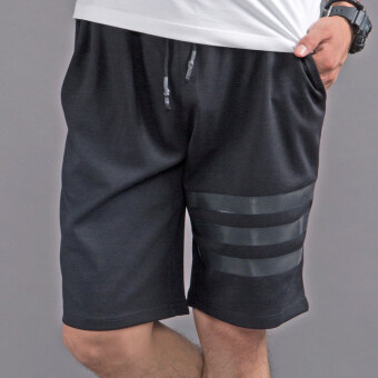 Loose men summer sports casual shorts (Black three bars)