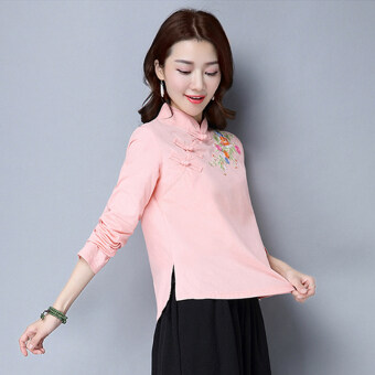 Loose national style spring plate buttons embroidered flower T-shirt shirt (Pink) (Pink)