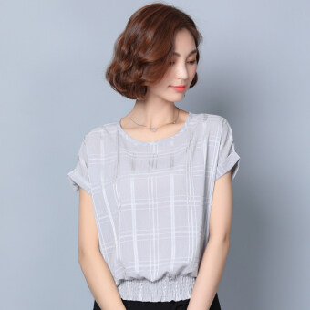 Loose short sleeved New style women's T-shirt chiffon shirt (Gray short sleeved)