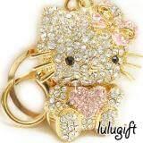 Lulugift Cute Gold Hello Kitty Love Pink Swarovski Keychain