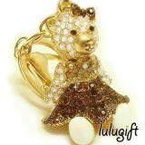 Lulugift Cute Golden Female Bear Brown Swarovski Keychain