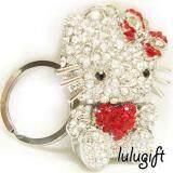 Lulugift Cute Silver Hello Kitty Love Red Swarovski Keychain