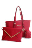 Lulumono PU Leather 3 in1 Tote Dinner Clutch Bag Red Color
