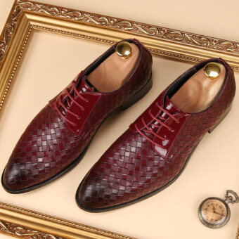 Men 's fashion weave pattern leather shoes