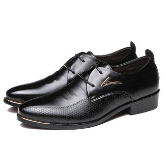 Men Business Dress Formal Leather Shoes Flat Oxfords Lace Up Pointy Toe Loafers black -Intl
