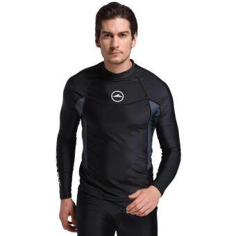 Men Diving Wetsuit Tops Summer Long Sleeve Swimming SurfingRashguard T Shirts Snorkeling UV Protection Swimwear - black