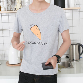 Men's All-Match Loose Round Neck Short Sleeve 100% Cotton T-Shirt (Gray)