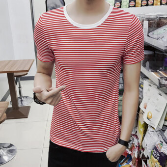 Men's Japanese-style Slim Fit Striped Round Neck Hald Sleeve Shirt (DT14-red stripe)