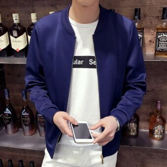 Men's Korean-style Slim Fit Leisure Cardigan Sweater (Solid color-dark blue)