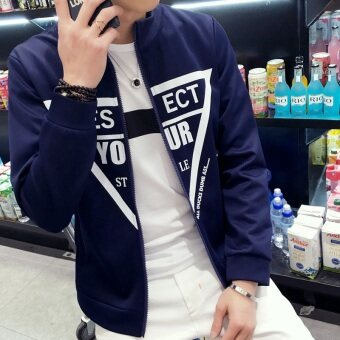 Men's Korean-style Slim Fit Leisure Cardigan Sweater (Your-dark blue)