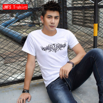 Men's Loose Round Neck 100% Cotton Short Sleeve T-Shirt (White T letter)