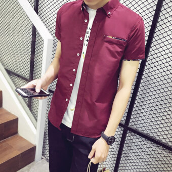 Men's short-sleeved shirt Korean-style Slim fit casual shirt male short-sleeved student fashion Teenager white shirt tide (Wine red color [DS02])
