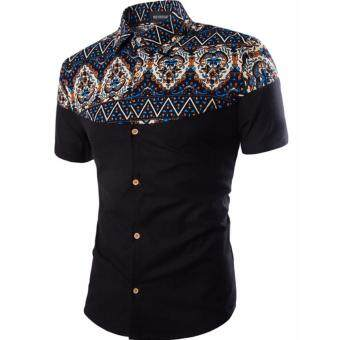 Men's Casual Batik Design Short-Sleeved Shirt (Black)