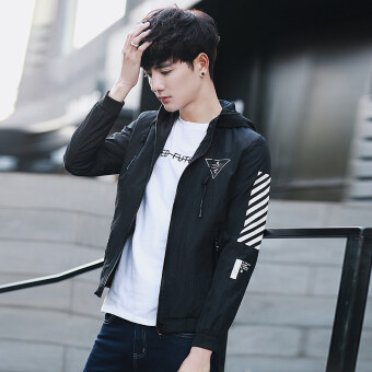 Men's casual jacket spring New style hooded coat TeenagerKorean-style Slim fit jacket Stylish men's on the clothes (Black)