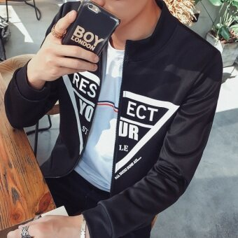 Men's jacket autumn 2016 New style Top young Korean-style casualStylish men's jacket men jacket Spring and Autumn dress (Yourtriangle-black)