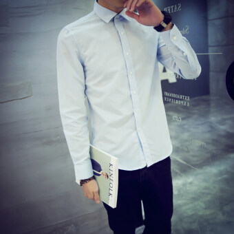 Men's Slim fit Teenager tide Korean-style white long-sleeved shirt(Sky blue)