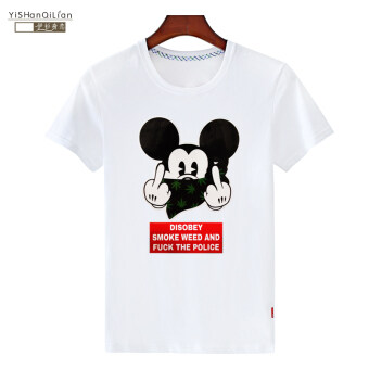 Mickey Mouse male short-sleeved Iraq shirt round neck Print T-shirt(Short white t mickey mouse)